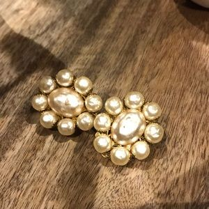 Haskell signed pearl clip on earrings